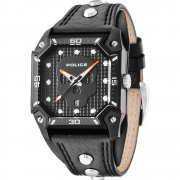 Police Wild Card black dial leather strap Mens watch 13888JSB-02