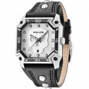 Police Wild Card silver dial leather strap Mens watch 13888JS-04