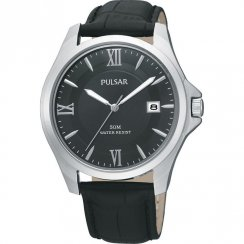 Pulsar black dial Black leather strap Mens watch PXH787X1