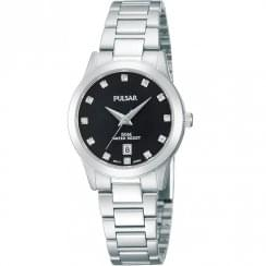 Pulsar Black Dial Chrome Bracelet Ladies Watch PH7277X1