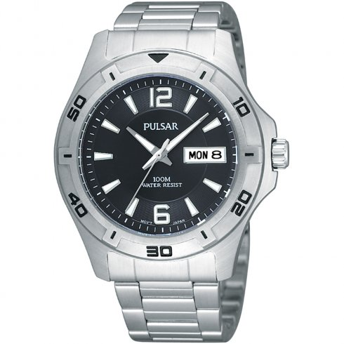 Pulsar Black Dial Stainless Steel Bracelet Gents Watch PXN209