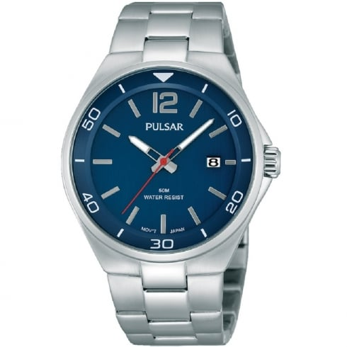 Pulsar Blue Dial Stainless Steel Bracelet Gents Watch PS9325X1