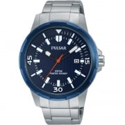 Pulsar Blue Dial Stainless Steel Bracelet Gents Watch PS9367X1