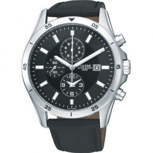 Pulsar Chronograph Black Dial Black Leather Strap Gents Watch PF8355X1