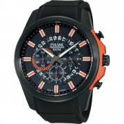 Pulsar Chronograph Black Dial Black Rubber Strap Gents Watch PT3561X1