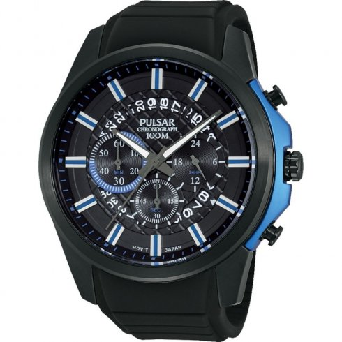Pulsar Chronograph Black Dial Black Rubber Strap Gents Watch PT3567X1