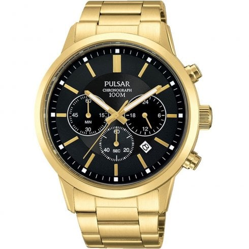 Pulsar Chronograph Black Dial Gold Bracelet Gents Watch PT3748X1