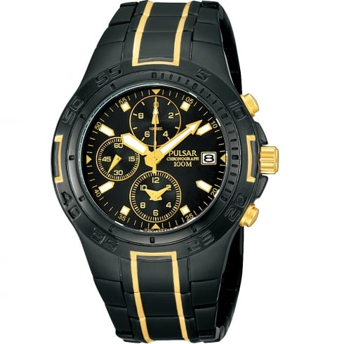 Pulsar Chronograph Black Dial Gun Metal & Gold Bracelet Gents Watch PF8413X1