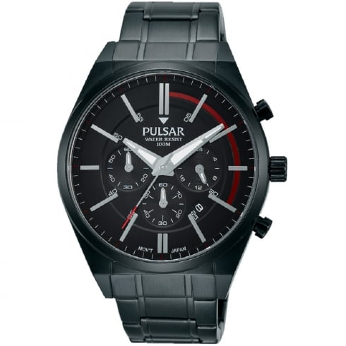 Pulsar Chronograph Black Dial IP Black Bracelet Gents Watch PT3705X1