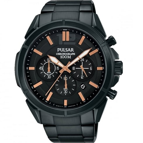 Pulsar Chronograph Black Dial IP Black Stainless Steel Bracelet Gents Watch PT3765X1