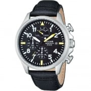 Pulsar Chronograph Black Dial Leather Strap Gents Watch PS6053X1