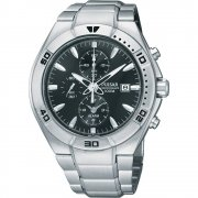 Pulsar Chronograph Black Dial Stainless Steel Bracelet Gents Watch PF3957X1