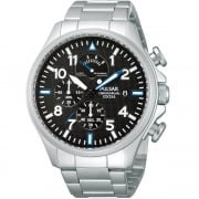 Pulsar Chronograph Black Dial Stainless Steel Bracelet Gents Watch PS6049X1