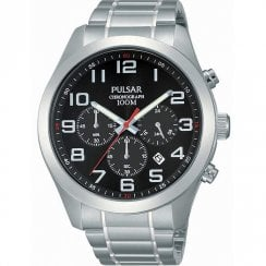 Pulsar Chronograph Black Dial Stainless Steel Bracelet Gents Watch PT3661X1