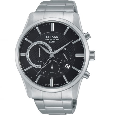 Pulsar Chronograph Black Dial Stainless Steel Bracelet Gents Watch PT3735X1