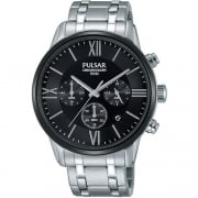 Pulsar Chronograph Black Dial Stainless Steel Bracelet Gents Watch PT3805X1