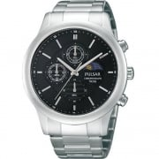 Pulsar Chronograph Black Dial Stainless Steel Bracelet Mens Watch PV9003