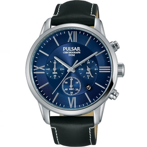 Pulsar Chronograph Blue Dial Black Leather Strap Gents Watch PT3809X1