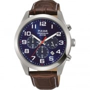 Pulsar Chronograph Blue Dial Brown Leather Strap Gents Watch PT3811X1