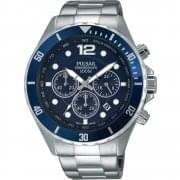 Pulsar Chronograph Blue Dial Chrome Bracelet Gents Watch PT3719X1