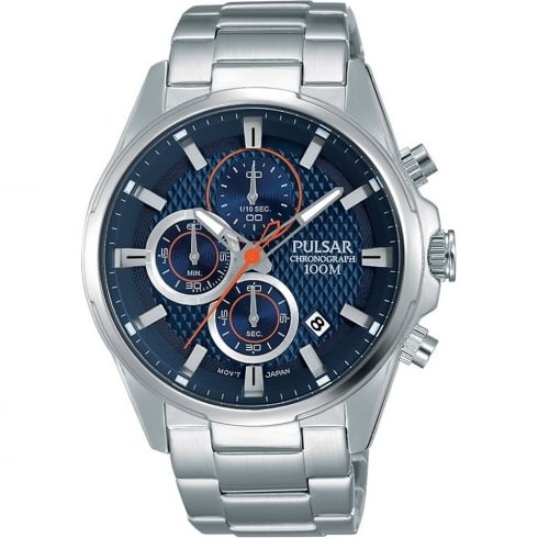 Pulsar Chronograph Blue Dial Stainless Steel Bracelet Gents Watch PM3059X1