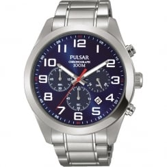Pulsar Chronograph Blue Dial Stainless Steel Bracelet Gents Watch PT3813X1