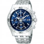 Pulsar Chronograph Blue Dial Stainless Steel Bracelet Mens Watch PF8397X1