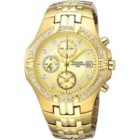 Pulsar Chronograph Champagne Dial Gold Bracelet Mens Watch PF8174X1