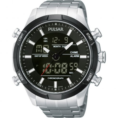 Pulsar Chronograph Digital Dial Stainless Steel Bracelet Mens Watch PW6003X1