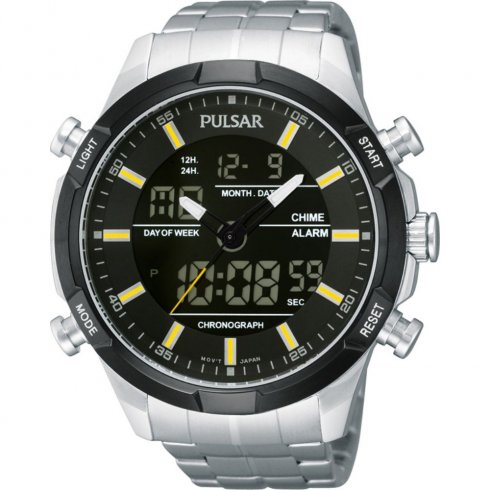 Pulsar Chronograph Dual Dispaly Black Dial Stainless Steel Bracelet Mens Watch PW6005X1