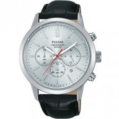 Pulsar Chronograph Silver Dial Black Leather Strap Gents Watch PT3749X1