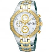 Pulsar Chronograph Silver Dial Two Tone Stainless Steel Bracelet Mens Watch PF8396
