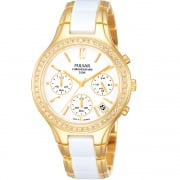 Pulsar Chronograph White Dial 2 Tone Gold Bracelet Ladies Watch PT3304