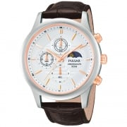 Pulsar Chronograph White Dial Brown Leather Strap Gents Watch PV9009