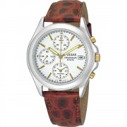 Pulsar Chronograph White Dial Brown Leather Strap Mens Watch PF3149X1