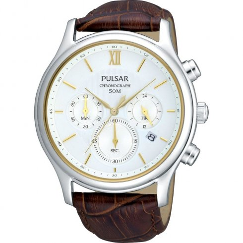 Pulsar Chronograph White Dial Brown Leather Strap Mens Watch PT3103X1