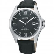Pulsar Classic Black Dial Black Leather Strap Gents Watch PXH787X1