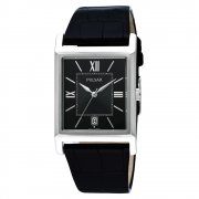 Pulsar Classic Black Dial Black Leather Strap Mens Watch PXDB07