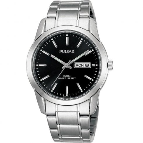 Pulsar Classic Black Dial Chrome Bracelet Gents Watch PJ6021X1