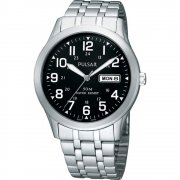 Pulsar Classic Black Dial Chrome Bracelet Gents Watch PXN181X1