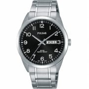 Pulsar Classic Black Dial Stainless Steel Bracelet Gents Watch PJ6063X1