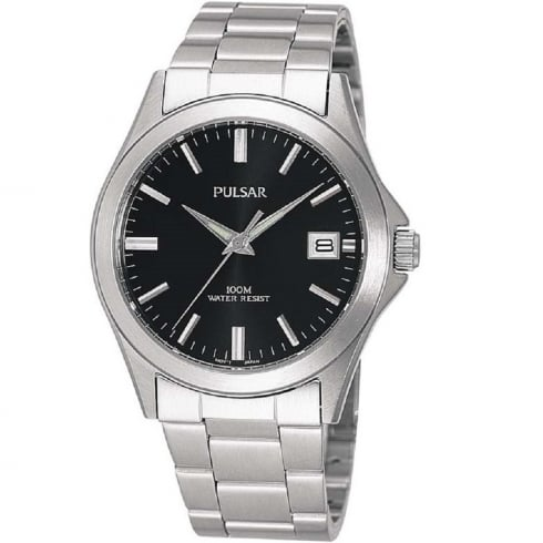 Pulsar Classic Black Dial Stainless Steel Bracelet Gents Watch PXH091X1