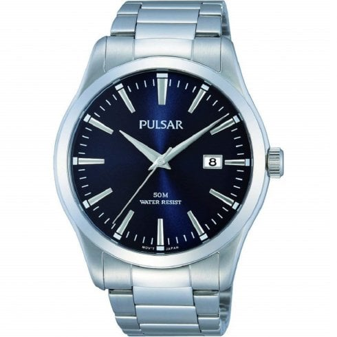 Pulsar Classic Blue Dial Chrome Bracelet Gents Watch PS9297X1