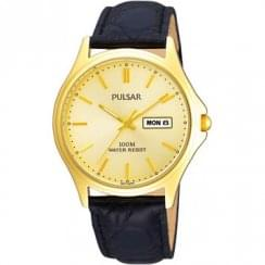 Pulsar Classic Champagne Dial Black Strap Gents Watch PXF296X1