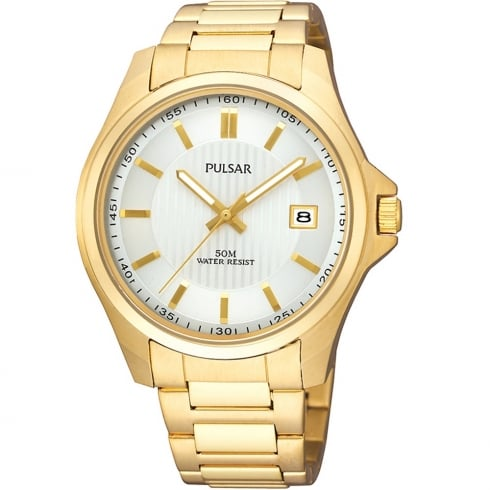 Pulsar Classic Champagne Dial Gold Bracelet Gents Watch PXH780X1