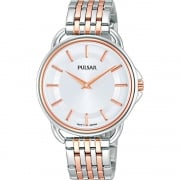 Pulsar Classic Silver Dial Tone Tone Rose Gold Bracelet Ladies Watch PM2098X1