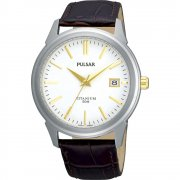 Pulsar Classic Titanium White Dial Brown Leather Strap Gents Watch PXHA21X1