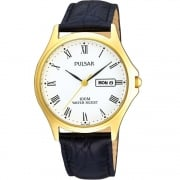 Pulsar Classic White Dial Black Leather Strap Gents Watch PXF292X1