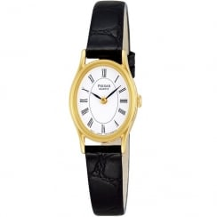 Pulsar Classic White Dial Black Leather Strap Ladies Watch PPGD64X1
