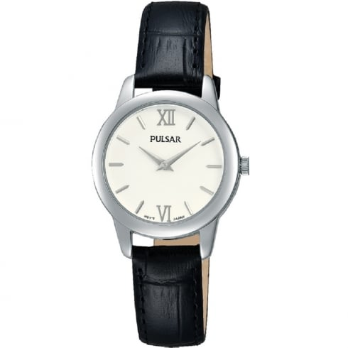 Pulsar Classic White Dial Black Leather Strap Ladies Watch PRW021X1